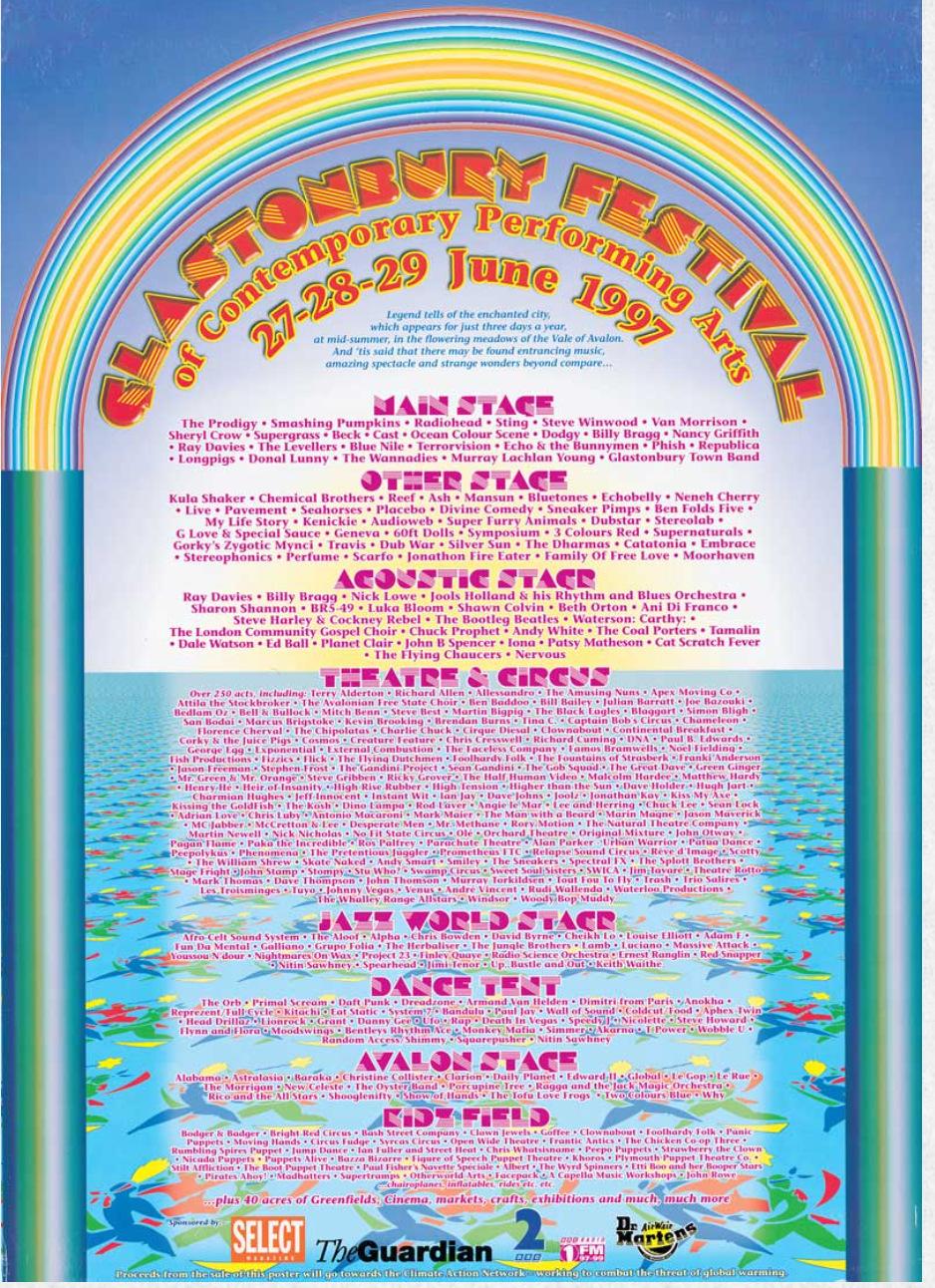 Glastonbury Festival 1997 poster